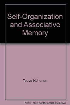 Self-organization and associative memory book cover