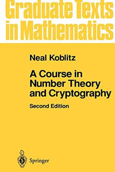 A Course in Number Theory and Cryptography book cover