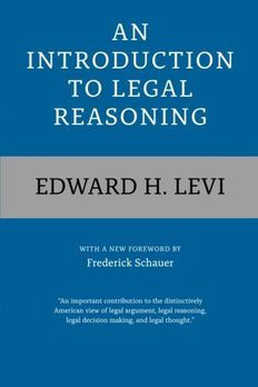 An Introduction to Legal Reasoning by Edward H. Levi book cover