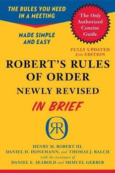 Robert's Rules of Order Newly Revised In Brief, 2nd edition book cover
